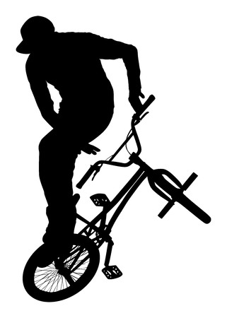 Bicycle stunts vector silhouette isolated on white background. Bike performance. exercising bmx acrobatic figure. Biker exhibition. Vettoriali