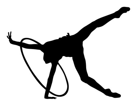 Athlete woman in gym exercise. Ballet girl vector figure isolated on white background. Black silhouette illustration of gymnastic woman. Vektorové ilustrace