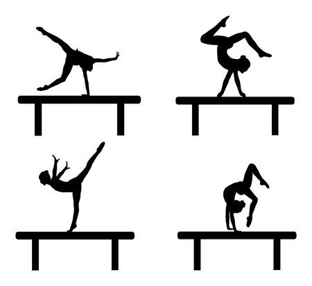 Ballet vector de la figura de la muchacha aislado en el fondo blanco. negro silueta ilustración de la mujer gimnástica.
