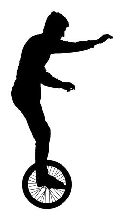 balance life: Circus Artist performer Silhouette on white background