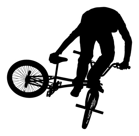 Bicycle stunts vector silhouette isolated on white background.