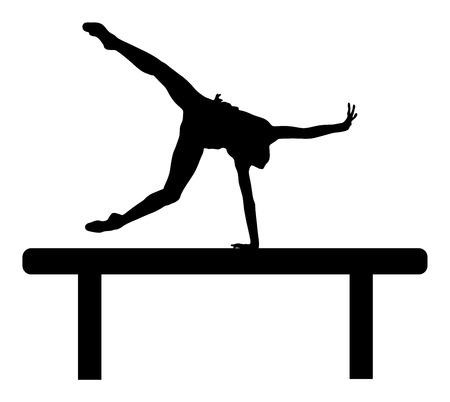 Athlete woman in gym exercise. Ballet girl vector figure isolated on white background. Black silhouette illustration of gymnastic woman.