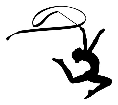 costume ball: Athlete woman in gym exercise. Ballet girl vector figure isolated on white background. Black silhouette illustration of gymnastic woman.