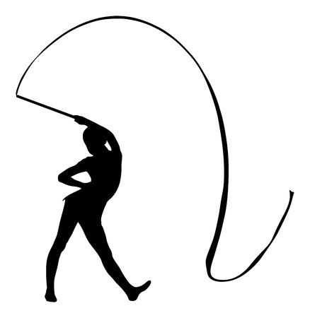 donna atleta in palestra. Balletto vettore figura giovane isolato su sfondo bianco. Nero illustrazione silhouette di donna ginnastica.