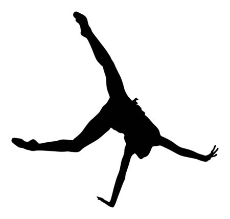 Athlete woman in gym exercise. Ballet girl vector figure isolated on white background. Black silhouette illustration of gymnastic woman. Rhythmic gymnastic pose. Çizim