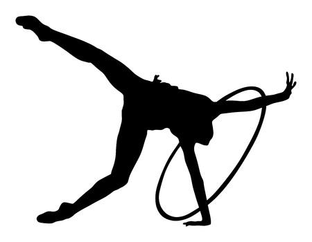 Athlete woman in gym exercise. Ballet girl vector figure isolated on white background. Black silhouette illustration of  rhythmic gymnastic woman.