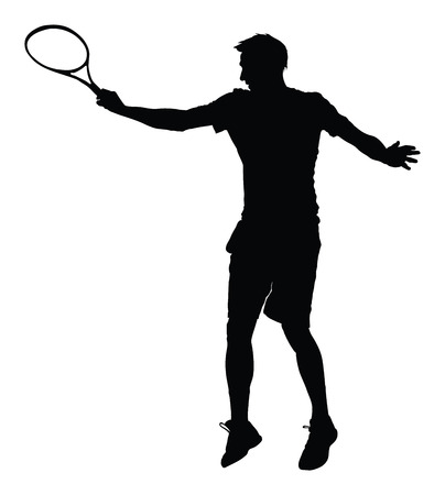 synthetic court: One man tennis player vector silhouette isolated on white background.