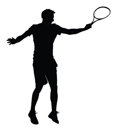 One man tennis player vector silhouette isolated on white background.  Sport recreation. Иллюстрация