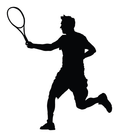 One man tennis player vector silhouette isolated on white background.  Sport recreation. Illustration