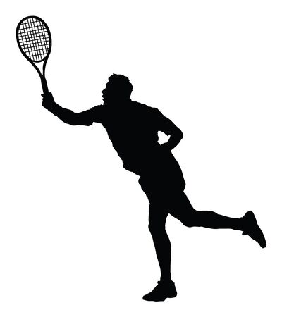 Man tennis player vector silhouette isolated on white background. Sport tennis silhouette isolated. Man recreation after work, anti stress therapy.