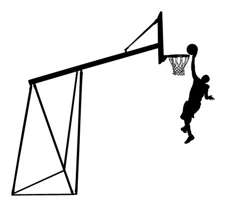 Basketball player jumping dunking in silhouette on white background.