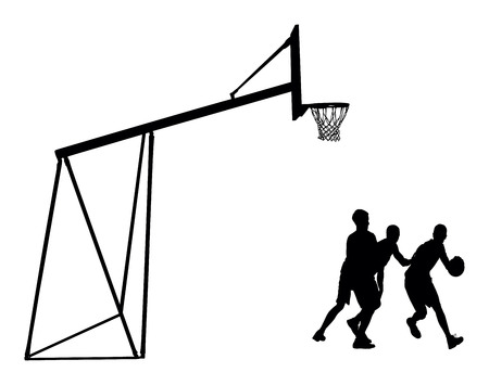 layup: Basketball players black silhouette vector illustration isolated on white background. Basketball hoop vector silhouette illustration.