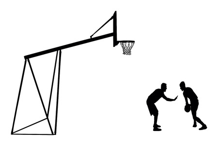 Basketball players black silhouette vector illustration isolated on white background. Basketball hoop vector silhouette illustration.