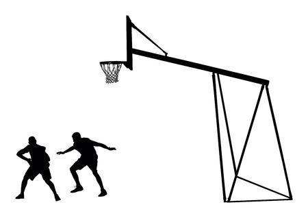 joueurs de basket-ball silhouette noire illustration vectorielle isolé sur fond blanc. Panier de basket vecteur silhouette illustration. Vecteurs