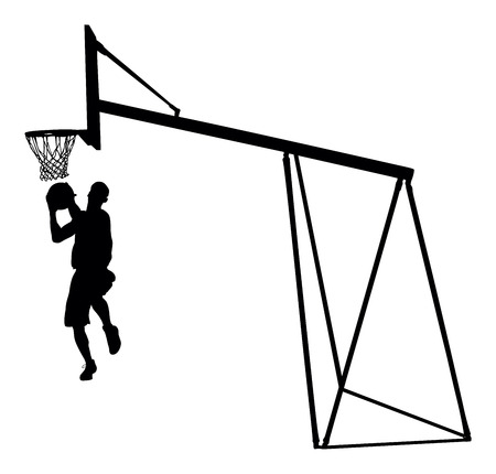 Basketball player jumping dunking in silhouette isolated white background. Basketball player vector illustration isolated on white background. Basketball hoop vector silhouette illustration.