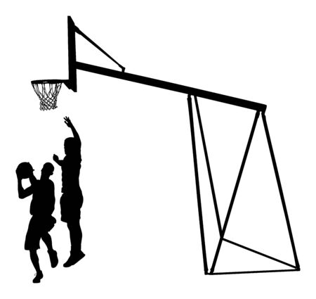 Basketball players black silhouette vector illustration isolated on white background. Basketball hoop vector silhouette illustration. Street basket sports man.