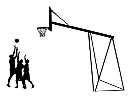 バスケット ボール選手は黒白い背景、ベクトル イラストのシルエットです。