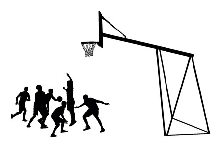 dunking: Basketball players black silhouette vector illustration isolated on white background. Basketball hoop vector silhouette illustration.