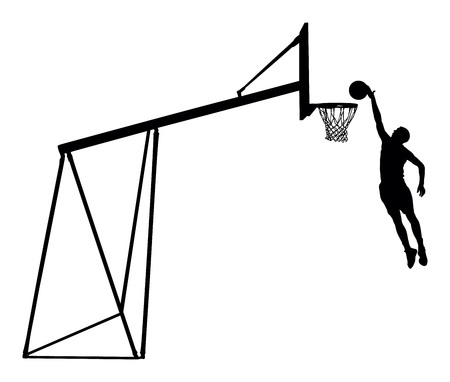 layup: Basketball player jumping dunking in silhouette isolated white background. Basketball player vector illustration isolated on white background. Basketball hoop vector silhouette illustration.