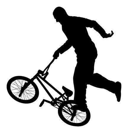 one wheel bike: Bicycle stunts vector silhouette isolated on white background. Bike performance. exercising bmx acrobatic figure.
