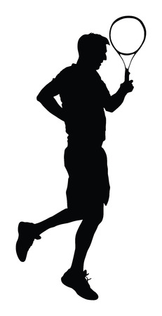 One man tennis player vector silhouette isolated on white background. Sport recreation.