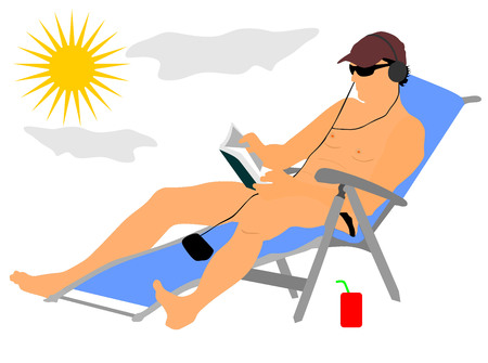 Handsome man enjoying on the beach vector illustration. Relax in the pool. young successful man in sunglasses reading a book and listening music at the hotel. Sunbathing and cool drink. Illustration