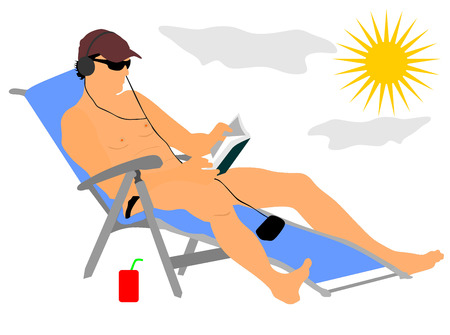 nude outdoors: Handsome man enjoying on the beach vector illustration. Relax in the pool. young successful man in sunglasses reading a book and listening music at the hotel. Sunbathing and cool drink. Illustration