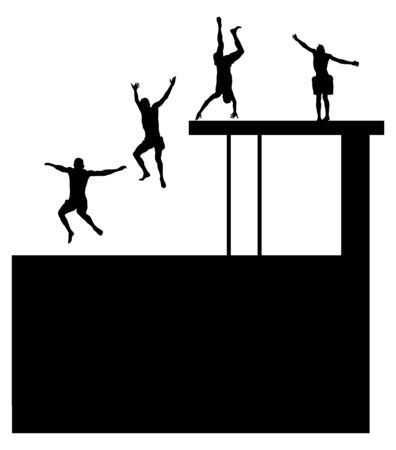 Young boys silhouette in different position jumping into the water. Young people having fun at the swimming pool on a summer day. Cliff Jumping vector illustration isolated on white background.