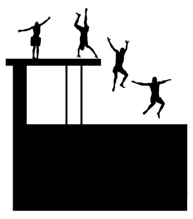jumping into water: Young boys in many different position jumping into the water from a jetty. Young people having fun at the swimming pool on a summer day. Cliff Jumping vector silhouette illustration isolated on white background.