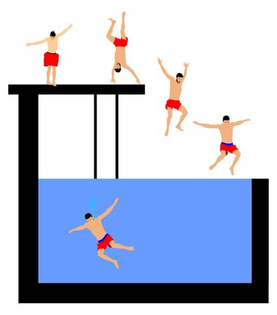 Young boys in many different position jumping into the water from a jetty. Young people having fun at the swimming pool on a summer day. Cliff Jumping vector illustration isolated on white background.