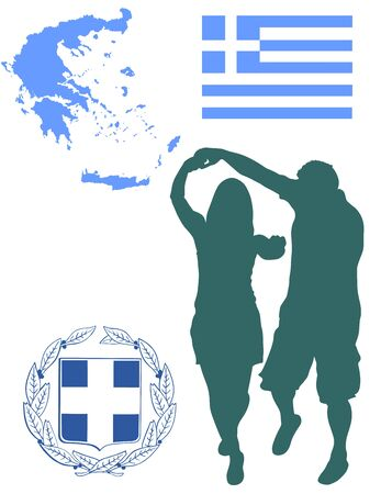 A Greek Evzone dancing vector silhouette isolated on white background. Traditional couple dance. Greece map, coat of arms and Greece flag.Tourist guide Greek symbol.  Sirtaki, Syrtaki, Zorba dance.