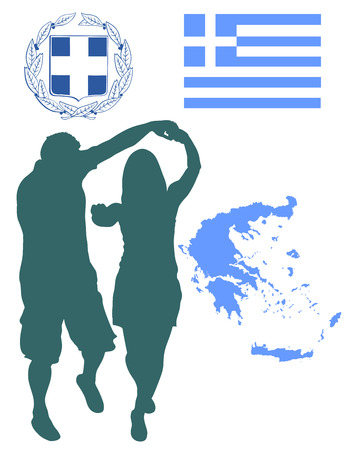 comercial: A Greek Evzone dancing vector silhouette isolated on white background.Traditional dance. Dancing man silhouette vector illustration. Greece map, coat of arms and Greece flag.Tourist guide Greek symbol Illustration