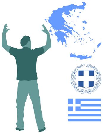 A Greek Evzone dancing vector silhouette isolated on white background.Traditional dance. Greece map, coat of arms and Greece flag.Tourist guide Greek symbol.  Sirtaki, Syrtaki, Zorba dance. Ilustracja