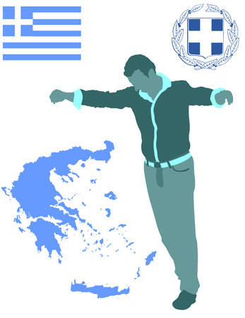 A Greek Evzone dancing vector silhouette isolated on white background.Traditional dance. Dancing man silhouette vector illustration. Greece map, coat of arms and Greece flag.Tourist guide Greek symbol Illustration