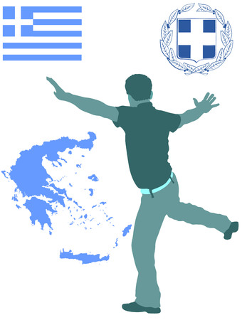 A Greek Evzone dancing vector silhouette isolated on white background.