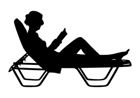 woman lying down: Young beautiful woman lying down on sun bed sofa lounge chair on holidays. Summer luxury vacation. Woman reading a book on the beach vector silhouette illustration, sunbathing by the pool.