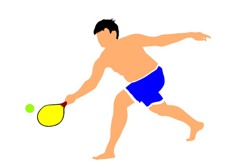 Boy playing beach tennis, ball game for beach, vector illustration.