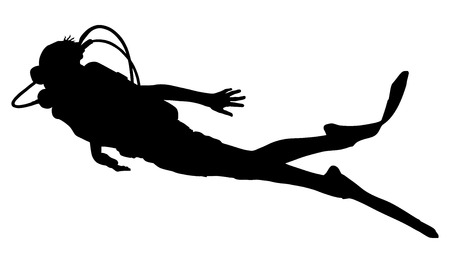 Scuba diving silhouette vector illustration isolated on white background.. Sport underwater, water sea, glove and flashlight, mask and snorkel. Diving school, Scuba school. Beach fun, fishing,swimming Illustration