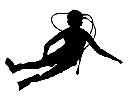 underwater sport: Scuba diving silhouette vector illustration isolated on white background.. Sport underwater, water sea, glove and flashlight, mask and snorkel. Diving school, Scuba school. Beach fun, fishing,swimming Illustration