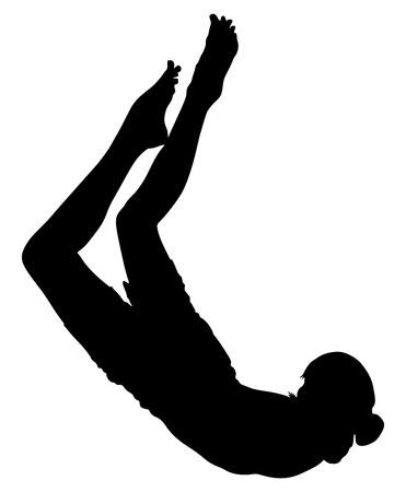 speargun: Scuba diving boy vector silhouette illustration isolated on white background. Illustration