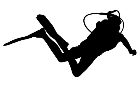 speargun: Scuba diving silhouette vector illustration isolated on white background.. Sport underwater, water sea, glove and flashlight, mask and snorkel. Diving school, Scuba school. Beach fun, fishing,swimming Illustration