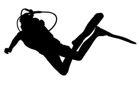 Scuba diving silhouette vector illustration on white background.