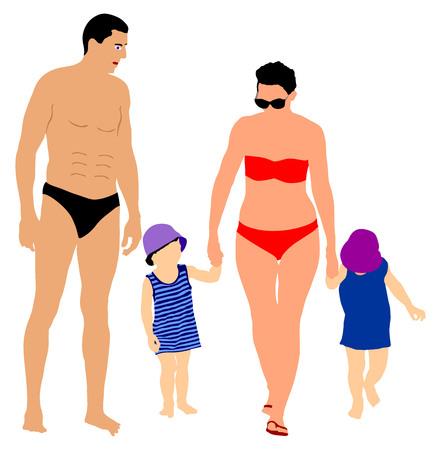 Happy Family Having Fun on beautiful sunny tropical beach vector illustration. Hand holding.