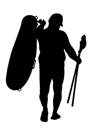 sunbathing: Man carrying row boat (rubber boat) and paddles vector silhouette illustration. Beach funny day. Mature man, senior sunbathing, Summer lifestyle holiday sunbathing fat man have resting. Illustration