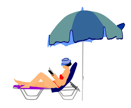 woman lying down: Young beautiful woman lying down on sun bed sofa lounge chair on holidays. Summer luxury vacation. Woman reading a book on the beach vector illustration, sunbathing by the pool. Illustration