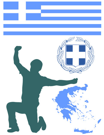 mediterranea: A Greek Evzone dancing vector silhouette isolated on white background.Traditional dance. Dancing man silhouette vector illustration. Greece map, coat of arms and Greece flag.Tourist guide Greek symbol Illustration