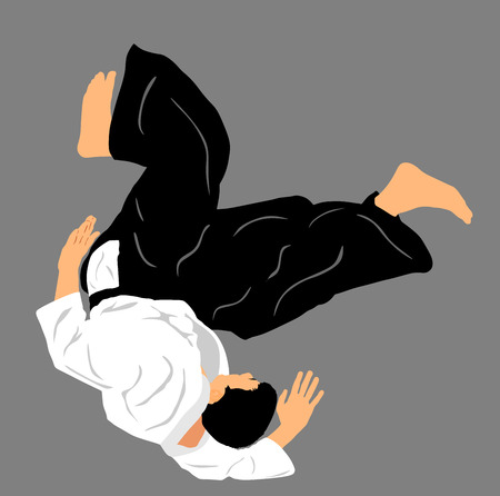 aikido: Aikido fighter vector silhouette illustration. Training action. Self defense, defence art excercising concept. Aicido instructor demonstrate skill.