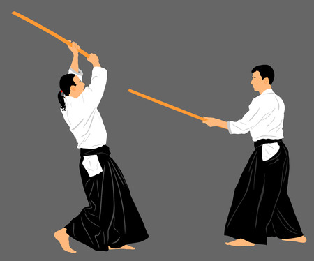 Fight between two aikido fighters vector silhouette symbol illustration. Sparring on training action. Self defense, defence art exercising concept.