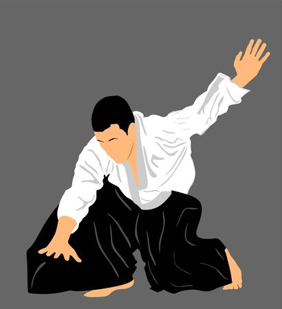 Aikido fighter vector silhouette illustration. Training action. Self defense, defence art excercising concept. Aicido instructor demonstrate skill.