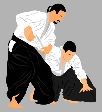 Fight between two aikido fighters vector silhouette symbol illustration. Sparring on training action. Self defense, defence art exercising concept. Фото со стока - 128347321